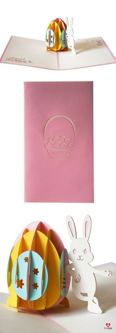 Celebrate Easter with an adorable Easter Bunny and his paper art Easter Egg in this 3D pop up card. #EggHunt #EasterCard