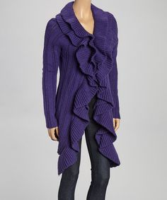 Another great find on #zulily! Purple Ruffle Trim Wool-Blend Cardigan - Women & Plus by Come N See #zulilyfinds