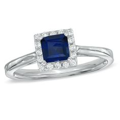 Princess-Cut Lab-Created Blue Sapphire and 1/7 CT. T.W. Diamond Engagement Ring in 10K White Gold