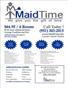 Basic Cleaning service Price List | Cleaning Tips | Pinterest ...