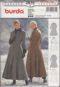 MOMSPatterns Vintage Sewing Patterns - Burda 2615 Retro 90's Sewing Pattern Ladies GOTHIC Russian Princess Steampunk Winter Duster Coat Fron...