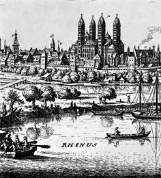 Landscape with Speyer cathedral. Engraving. Source: Christian Norberg-Schulz, Meaning in Western Architecture. New York: Praeger Publisher...