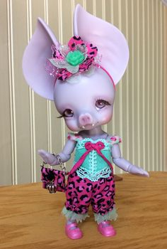Full Outfit for CCC Batty Boo bjd - Mint/Pink Leopard Print - by WeeDollyWears by WeeDollyWears on Etsy