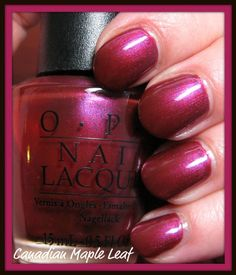 OPI: Canadian Maple Leaf/ have it luv it Opi Nail Polish, Opi Nails, Nail Polish Colors, Mani Pedi, Pedicure, Canadian Maple Leaf, Nail Polish Collection, Creative Makeup, Hair And Nails