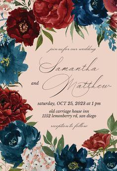 Purple Flowers - Wedding Invitation #invitations #printable #diy #template #wedding Free Wedding Invitations, Purple Wedding Flowers, Gift Registry, Response Cards, Our Wedding, Reception, Printable, Diy, Bricolage