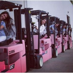 A #Pink parade, Just add batteries #forklift
