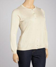 Loving this Beige Silk-Blend Cardigan - Plus on #zulily! #zulilyfinds