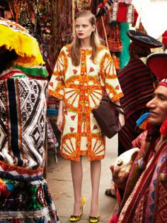 Nathalia Oliveira by Nicole Bentley for Marie Claire Australia March 2014, via Visual Optimism in Dolce & Gabanna, location Peru