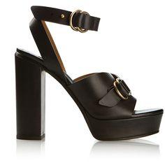 Chloé Black Leather Platform Sandals ($720) ❤ liked on Polyvore featuring shoes, sandals, platform shoes, black shoes, black block heel sandals, black leather sandals and leather sandals