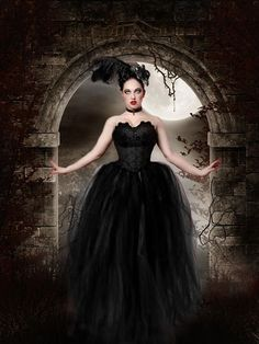 MIdnight Gothic Bridal tulle skirt tutu by SistersOfTheMoon