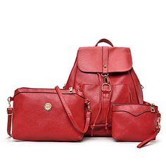 699086382e Γυναικείο Τσάντες Όλες οι εποχές PU Σετ τσάντα για Causal Θαλασσί Λευκό  Μαύρο Ρουμπίνι Μαύρο Δέρμα