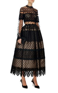 This long sleeve **Costarellos** dress is rendered in tulle with Chantilly and guipure lace applique and features an a-line silhouette with a mock neck, and a scalloped midi length hem. Black Lace Midi Dress, Sheer Dress, Chiffon Dress, Dress Up, Trendy Dresses, Sexy Dresses, Nice Dresses, Red Frock, Event Dresses