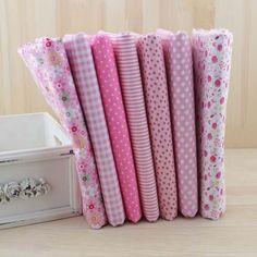 7 pçs/lote 50 cm x 50 cm rosa 100% tecido de algodão fat quarters para costura Tilda boneca pano DIY Quilting Patchwork tecido têxtil