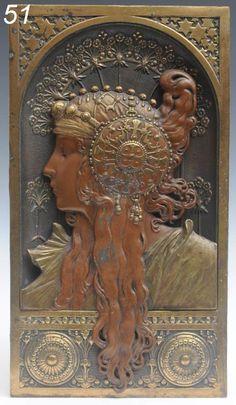 manner of Alphonse Mucha bronze relief sold $2200 www.fairfieldauction.com