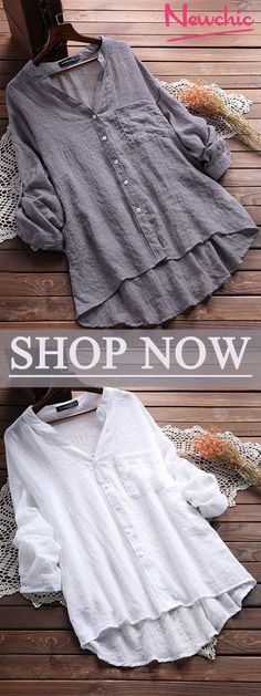 Casual V Neck Pure Color Blouses for Women #tops #blouse #women
