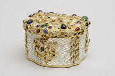Vintage Judith Leiber 1980  Treasure chest inspired by Frederick the Great's jewel boxes in multiple stones.