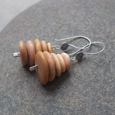 Beach pebble earrings -  natural stone created into rock cairns by NaturesArtMelbourne,