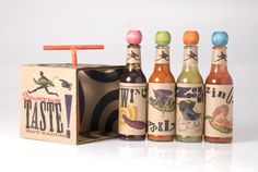 Empaque para salsas picantes inspirado en el movimiento cultural y artísitco del Dada. Diseñado por Laura Golembiewski.
