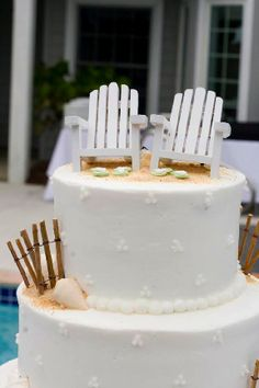 beach wedding cake...or could just be a cool summer birthday cake
