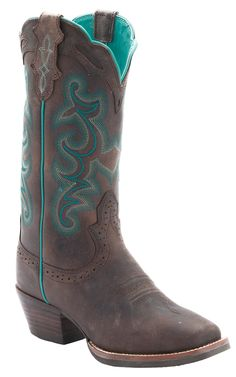 Justin® Ladies Silver Collection Chocolate Buffalo with Turquoise Stitching Punchy Toe Cowboy Boots