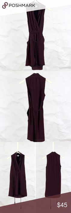 Wilfred - Plum 'Sabine' dress Wilfred 'Sabine' dress in a feel plum color. It's made with a beautiful Japanese fabric that's crinkle-resistant and has been treated to a special vintage finish. Features hidden side pockets. The self-tie belt lets you define your waist. Lined.  Size: XXS  Condition Very good. Slight discoloration at front - looks like it can definitely be removed with cleaning  Details + Care Exterior - 100% Silk Lining - 100% Polyester Dry clean Imported  Size & Fit Fits like…
