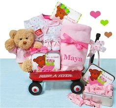 The Perfect Gift Basket -  Personalized It's A Girl Wagon, Hooray, it's a girl! This super cute Radio Flyer wagon comes filled with coordinating products for new baby. A super soft Gund teddy bear is included to keep baby company during playtime