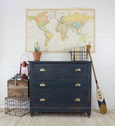 Homestead House Series: Midnight Blue - The Driftwood Home Navy Furniture, Salvaged Furniture, Painted Bedroom Furniture, Furniture Restoration, Primitive Furniture, Modern Furniture, Furniture Design, Midnight Blue Bedroom, Boy Dresser