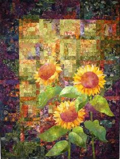Sunflower Quilt - I got to see this one at the Houston International Quilt Festival. Watercolor Quilt, Sunflower Quilts, International Quilt Festival, Quilt Modernen, Landscape Quilts, Arte Floral, Small Quilts, Applique Quilts, Fabric Art