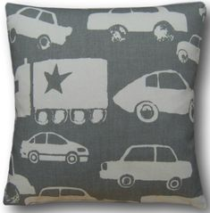 """Cushion Cover Made With Go Graphite Fabric 12"""" Grey Boy's Nursery Scatter Pillow"""