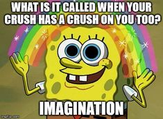 Imagination Spongebob | WHAT IS IT CALLED WHEN YOUR CRUSH HAS A CRUSH ON YOU TOO? IMAGINATION | image tagged in memes,imagination spongebob,funny,roflmao,crush,ranbow | made w/ Imgflip meme maker