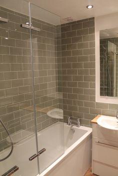 Bathroom renovation. Shower tiles are a nice gray.