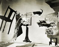 This photo was shot live. It took 26 attempts and 5 hours. Philip Halsman would count to four, Dali would leap into air, three assistants would throw the cats, another would throw a bucket of water, and Mrs. Halsman held the chair.