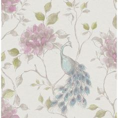 "Found it at Wayfair - Empress Dynasty Peacock 33' x 20.5"" Floral Wallpaper"