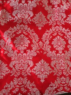 Silver On Red Damask Flocking Velvet Taffeta Fabric 60'' Wide Fabric By The Yard
