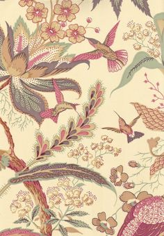 Suva Wallpaper Tree of life design with large leaves and birds in pinky reds, golds mulberry on pale gold