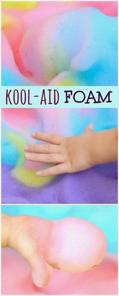 Kool-aid FOAM play recipe!  Gloriously scented, delightfully fluffy, and irresistibly squishy!  Oh, and the best part is that you can most likely go into your kitchen and make it right now!