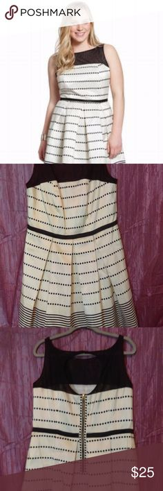 Eloquii Cream  & Black Polka Dot Dress Dressed up Polka Dots! Ladylike sleeveless, dress with a beautiful mesh neckline, and forgiving pleated skirt. Dress NWT SIZE 16W. Eloquii Dresses