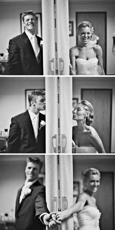Ways to take pictures without the bride and groom seeing each other. also, I love the laughing and giggling... weddings are supposed to be FUN!