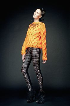Fluorecent Orange & Feathered Black Collar Cable Knit Sweater.