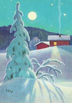 by hugo vartiainen Christmas Tale, Christmas Scenes, Vintage Christmas Cards, All Things Christmas, Xmas, Winter Illustration, Retro Illustration, Christmas Illustration, Vintage Illustrations