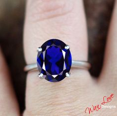 Blue Sapphire Solitaire Oval ring 14k Gold by WanLoveDesigns