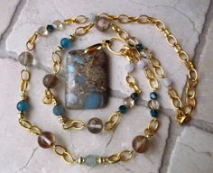 Long Gold Chain and Bead Necklace, Snakeskin Jasper Pendant Necklace, Aquamarine and Glass Beaded Necklace, One of a Kind by SuDanDesign on Etsy