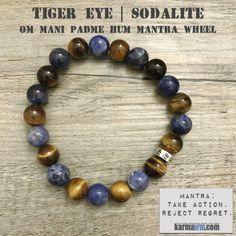 Yoga Bracelet Energy Healing | Men's Womens | beaded yoga karma mala charm. Law of Attraction. manifest. #LOA Sodalite. Tiger Eye Om Mani Padme Hum.