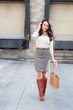 Grey skirt with brown boots