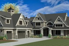 Craftsman Style House Plan - 3 Beds 3.5 Baths 7544 Sq/Ft Plan #920-2 Exterior - Front Elevation - Houseplans.com