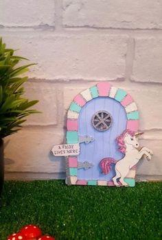 Unicorn-Fairy-Door-Handpainted-wooden-Glitter-Pixie-Elf-Door-Room-Wall-Decor