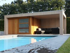 Afbeeldingsresultaat voor modern tuinhuis met overdekt terras