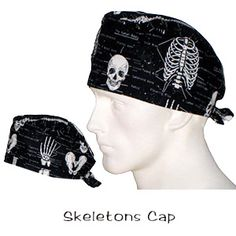 Surgical Caps Skeletons www.surgicalcaps.com  glows in the dark ! USA MADE 100% cotton ships today ready