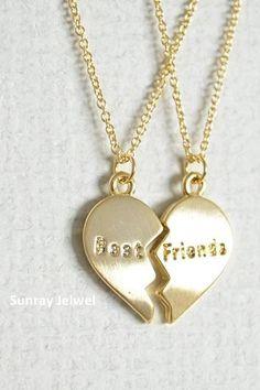 Split Heart Necklace, Best Friends Necklace, Friendship necklace