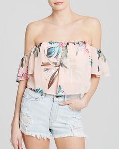 Guess Top - Floral Off The Shoulder